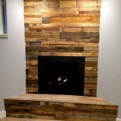 reclaimed wood fire place accent